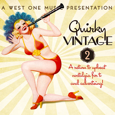 Quirky Vintage 2 album cover, kneeling woman in bikini with clarinet, vintage style illustration