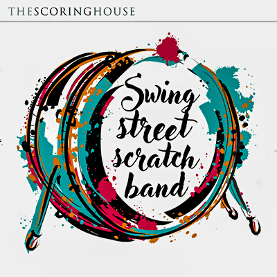 Scratch Band album cover, bass drum in broad stokes of red, black and turquoise, white background, centred title
