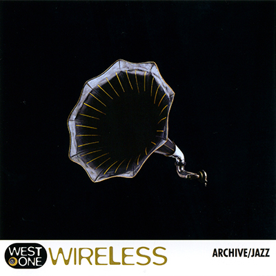 Wireless album cover, gramophone against a black background
